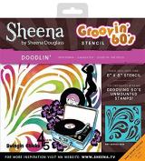 "Sheena Douglass ""Doodlin"" Grooving 60's Stencil, Clear, 20cm x 20cm"
