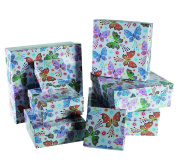 Ladies Lady Women Woman Her - Top Selling Butterflies & Flowers Gift Storage Box Set - Wrapping Solutions - Perfect for Secret Santa Stocking Fillers Xmas Christmas Birthday Valentines Anniversary Gift Present Idea - One Supplied