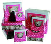 Children Kids Girls Girl Child - Number One Teddy Bear Pink Gift Storage Box Set - Fun Designs - Perfect for Stocking Fillers Christmas Xmas Birthday Easter Present Gift Fun Toys & Games or Pocket Money Treat or Reward Idea - One Supplied