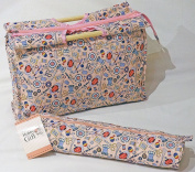 Knitting Bags Sewing Bags - Pink Notions - Wooden Handled Bag and Matching Cylindrical Roll