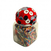 Sewing Supplies Storage Jar with Red Pin Cushion Lid & Glass Structure