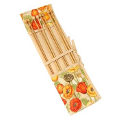 Poppies Design Knitting Pin Roll with Brown Trim & Four Padded Storage Pockets