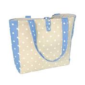 Cornflower Shoulder Bag with Two Handles, Toggle Fastener, & Internal Storage