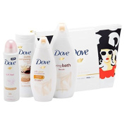 Dove Limited Edition Beauty Through The Ages Wash Bag gift set with Fine Silk Cream 500ml, Silk Glow wash 250ml, and Purely Pampering Shea butter lotion 250ml