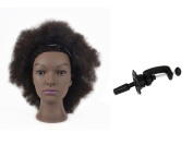 Afro Training Head Hairdressing 100% Real Human Hair Styling Mannequin Manikin Dolls Head With A Free Table Clamp Holder