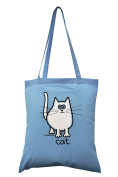 'Snowy White cat' Skyblue cotton tote bag