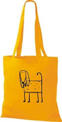 Shirt in Style Cloth Bag Cotton Bag Funny Animals Dog - Golden Yellow, 38 cm x 42 cm