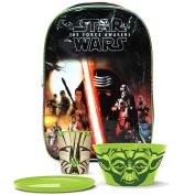 Star Wars Yoda Kylo Ren Storm Trooper The Force Awakens Meal Breakfast Set with Star Wars Black Backpack