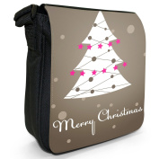 Merry Christmas With Christmas Tree & Star Decoration Small Black Canvas Shoulder Bag / Handbag