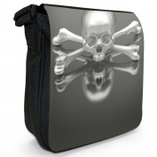 Chrome 3D Skull & Crossbones Small Black Canvas Shoulder Bag / Handbag