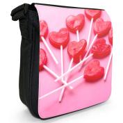 Tasty Red Finger Licking Heart Lollipops Candy Small Black Canvas Shoulder Bag / Handbag