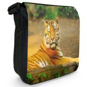 Lying Siberian Tiger In Sun Small Black Canvas Shoulder Bag / Handbag
