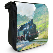 Black Steam Train Pulling Carriages Small Black Canvas Shoulder Bag / Handbag