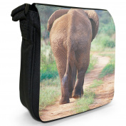 Elephant Walking In African Savannah Small Black Canvas Shoulder Bag / Handbag