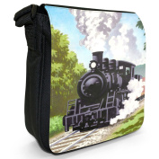 Black Steam Train Chugging Along Small Black Canvas Shoulder Bag / Handbag