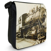 Vintage Old Train With Conductor Small Black Canvas Shoulder Bag / Handbag