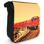 Red New York Subway Train Small Black Canvas Shoulder Bag / Handbag