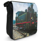 Vintage Locomotive Steam Train Small Black Canvas Shoulder Bag / Handbag