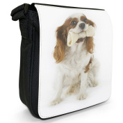 Cavalier King Charles Spaniel Dog Holding A Bone Small Black Canvas Shoulder Bag / Handbag