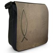 Jesus Fish Symbol On Brown Stone Christian Small Black Canvas Shoulder Bag / Handbag