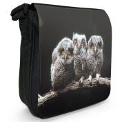 Owls Small Black Canvas Shoulder Bag / Handbag