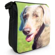 Weimaraner Dog Small Black Canvas Shoulder Bag / Handbag