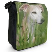 Whippet Dog In Field Small Black Canvas Shoulder Bag / Handbag