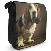 Basset Hound Sitting Small Black Canvas Shoulder Bag / Handbag