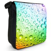 Rainbow Multi colour Water Droplets Small Black Canvas Shoulder Bag / Handbag