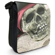Human Skull Wearing Pirate Bandanna & Hat Small Black Canvas Shoulder Bag / Handbag