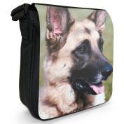 German Shepherd Dog Small Black Canvas Shoulder Bag / Handbag