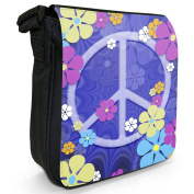 Hippy Flower Power Peace Sign Groovy Sixties Vintage Small Black Canvas Shoulder Bag / Handbag