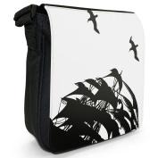 Pirate Sail Ship Silhouette & Seagull Small Black Canvas Shoulder Bag / Handbag