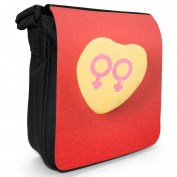 Lesbian Heart Love Sign Gay Pride Small Black Canvas Shoulder Bag / Handbag