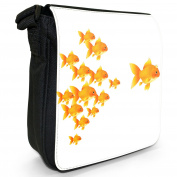 Queen Goldfish Followed By Her Kids Small Black Canvas Shoulder Bag / Handbag