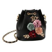 Espeedy Fashion Women Flowers Bucket Shoulder Bags Chain Drawstring Small PU Leather Cross Body Bag