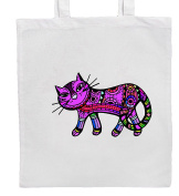 Purple CAT Shopping/Tote/Bag For Life/Shoulder Bag By Mayzie Designs®