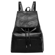 HCFKJ Women Ladies Girls Fashion Leather Drawstring School Bag Travel Backpack Bag Black
