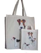 Wirehaired Fox Terrier Breed of Dog Adult and Child or Packed Lunch / Craft / Dog Treats Matching Cotton Shopping Bag Tote with Gussets for Extra Space