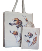 Whippet Breed of Dog Adult and Child or Packed Lunch / Craft / Dog Treats Matching Cotton Shopping Bag Tote with Gussets for Extra Space
