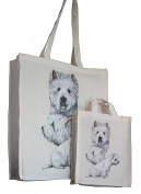 West Highland Terrier Westie Breed of Dog Adult and Child or Packed Lunch / Craft / Dog Treats Matching Cotton Shopping Bag Tote with Gussets for Extra Space