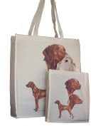 Vizsla Breed of Dog Adult and Child or Packed Lunch / Craft / Dog Treats Matching Cotton Shopping Bag Tote with Gussets for Extra Space