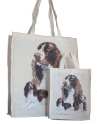 Springer Spaniel Breed of Dog Adult and Child or Packed Lunch / Craft / Dog Treats Matching Cotton Shopping Bag Tote with Gussets for Extra Space