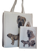 Shar Pei Breed of Dog Adult and Child or Packed Lunch / Craft / Dog Treats Matching Cotton Shopping Bag Tote with Gussets for Extra Space