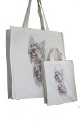 Yorkshire Terrier Yorkie (b) Breed of Dog Adult and Child or Packed Lunch / Craft / Dog Treats Matching Cotton Shopping Bag Tote with Gussets for Extra Space