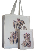 Yorkshire Terrier Yorkie Breed of Dog Adult and Child or Packed Lunch / Craft / Dog Treats Matching Cotton Shopping Bag Tote with Gussets for Extra Space