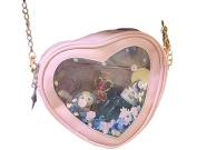 Remeehi Love Heart Chain Bag Women Crossbody Bags Clear PVC Hologram Laser Shoulder Bag Girls Cute Cartoon Small Clutch Pink