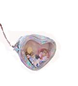 Remeehi Love Heart Chain Bag Women Crossbody Bags Clear PVC Hologram Laser Shoulder Bag Girls Cute Cartoon Small Clutch Silvery