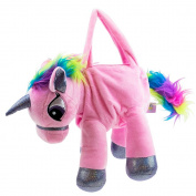 Rainbow Glitter Unicorn Soft Plush Handbag - Pink