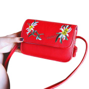 Espeedy Simple Women Messenger Bags Leather Flowers Embroidery Zipped Summer Ladies Girls Crossbody Shoulder Bag